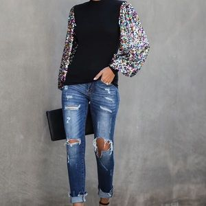 Black Rainbow Sequin Lantern Bell Sleeve Blouse